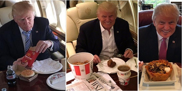 Image result for trump eating fast food