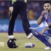 Virat Kohli drinks water by Evian to stay fit
