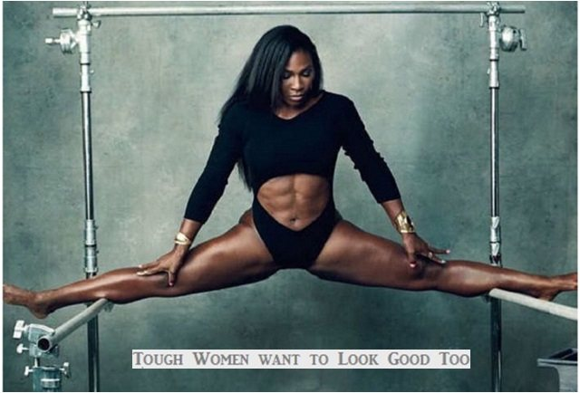 women who wear makeup to-gym Serena Williams